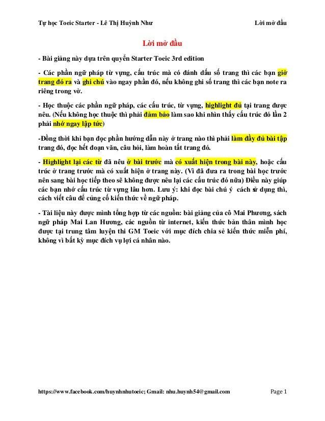 Tự học Toeic Starter - Lê Thị Huỳnh Như Unit 1 https://www.facebook.com/huynhnhutoeic; Gmail: nhu.huynh54@gmail.com Page 2...