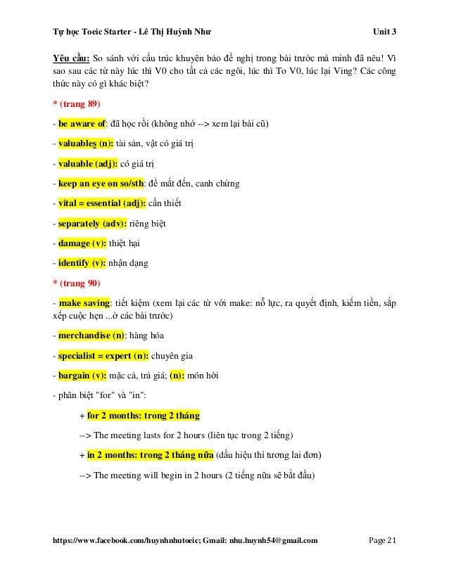 Tự học Toeic Starter - Lê Thị Huỳnh Như Unit 3 https://www.facebook.com/huynhnhutoeic; Gmail: nhu.huynh54@gmail.com Page 2...