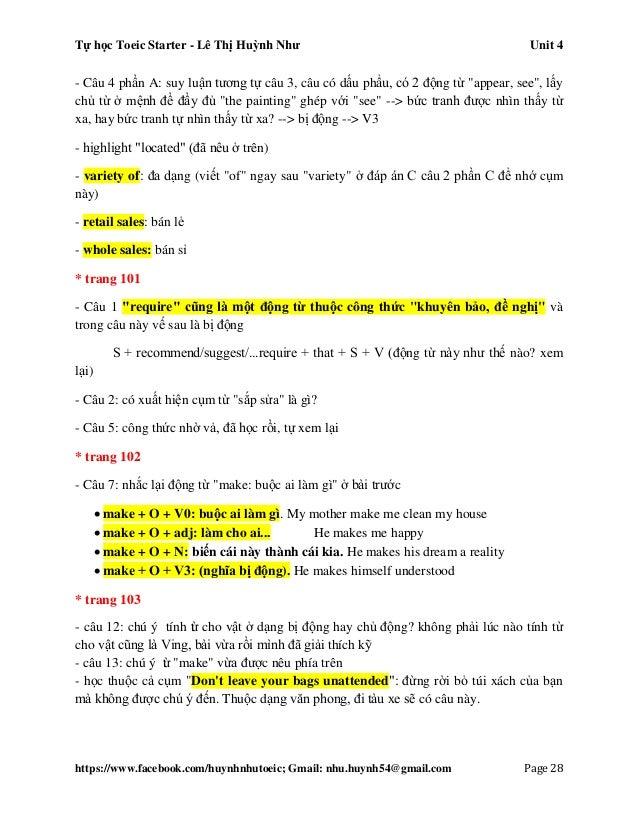 Tự học Toeic Starter - Lê Thị Huỳnh Như Unit 4 https://www.facebook.com/huynhnhutoeic; Gmail: nhu.huynh54@gmail.com Page 2...