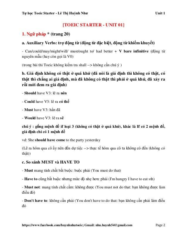 Tự học Toeic Starter - Lê Thị Huỳnh Như Unit 1 https://www.facebook.com/huynhnhutoeic; Gmail: nhu.huynh54@gmail.com Page 3...