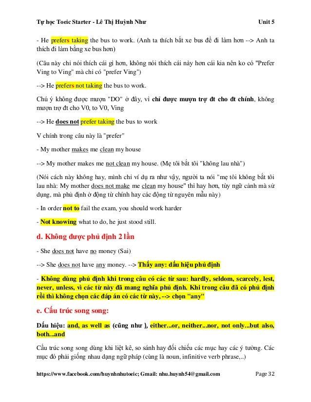 Tự học Toeic Starter - Lê Thị Huỳnh Như Unit 5 https://www.facebook.com/huynhnhutoeic; Gmail: nhu.huynh54@gmail.com Page 3...