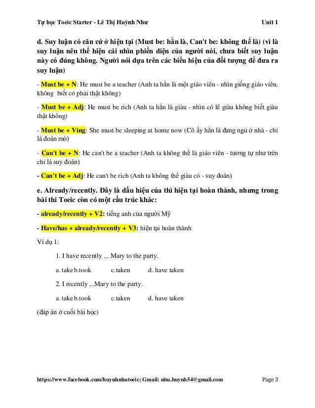 Tự học Toeic Starter - Lê Thị Huỳnh Như Unit 1 https://www.facebook.com/huynhnhutoeic; Gmail: nhu.huynh54@gmail.com Page 4...