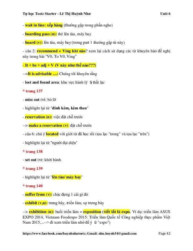 Tự học Toeic Starter - Lê Thị Huỳnh Như Unit 6 https://www.facebook.com/huynhnhutoeic; Gmail: nhu.huynh54@gmail.com Page 4...