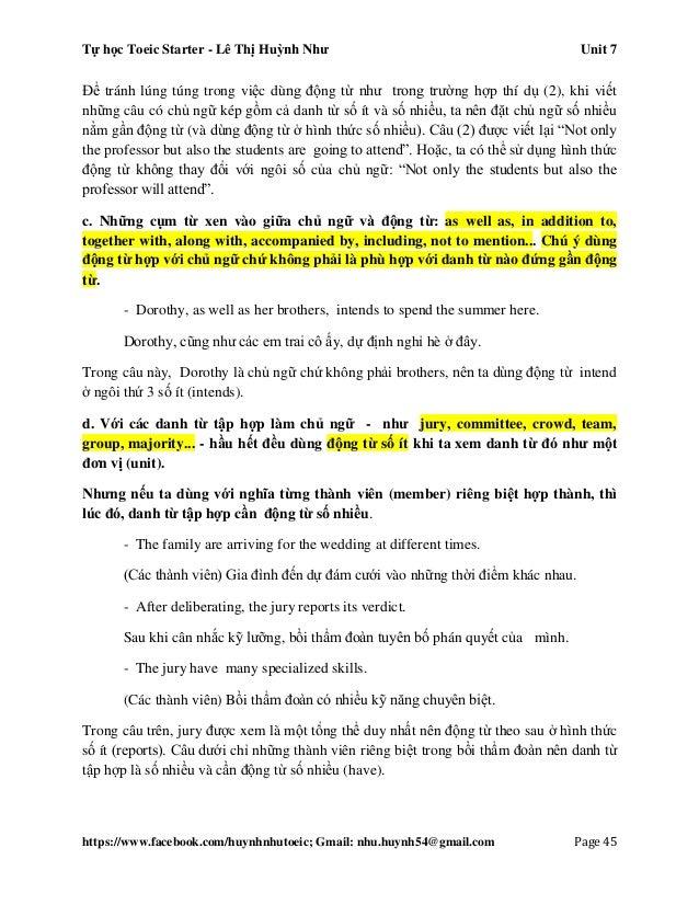 Tự học Toeic Starter - Lê Thị Huỳnh Như Unit 7 https://www.facebook.com/huynhnhutoeic; Gmail: nhu.huynh54@gmail.com Page 4...