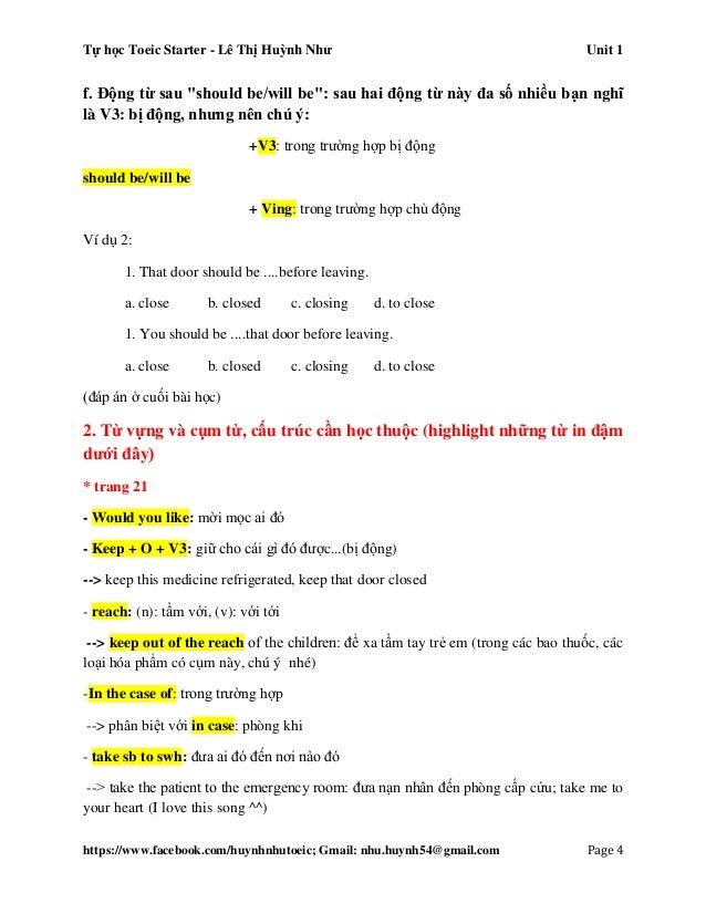 Tự học Toeic Starter - Lê Thị Huỳnh Như Unit 1 https://www.facebook.com/huynhnhutoeic; Gmail: nhu.huynh54@gmail.com Page 5...