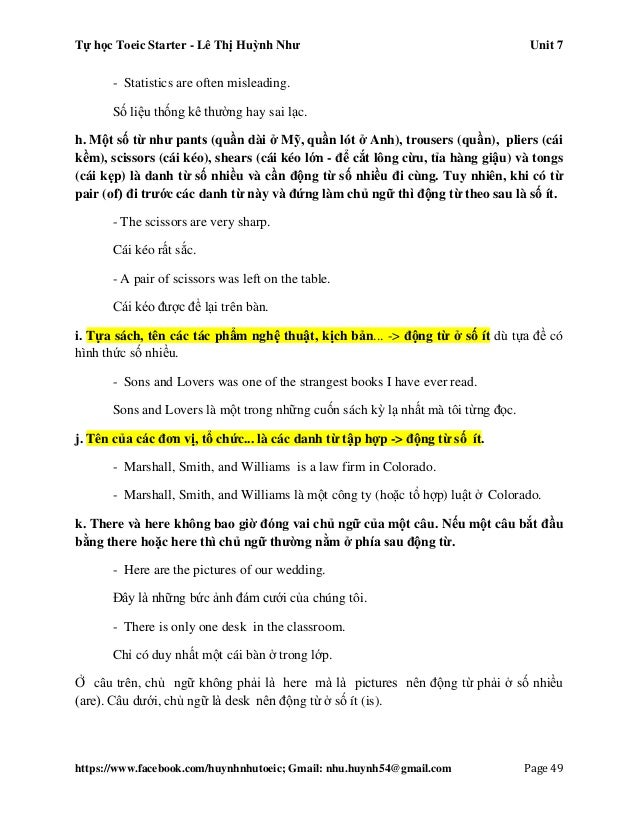 Tự học Toeic Starter - Lê Thị Huỳnh Như Unit 7 https://www.facebook.com/huynhnhutoeic; Gmail: nhu.huynh54@gmail.com Page 5...