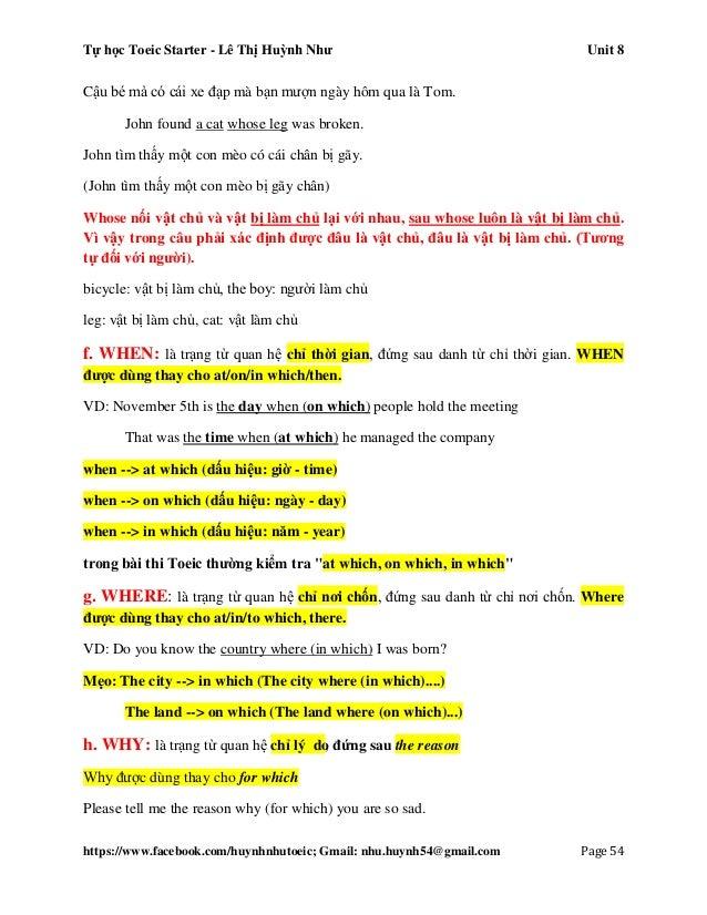 Tự học Toeic Starter - Lê Thị Huỳnh Như Unit 8 https://www.facebook.com/huynhnhutoeic; Gmail: nhu.huynh54@gmail.com Page 5...