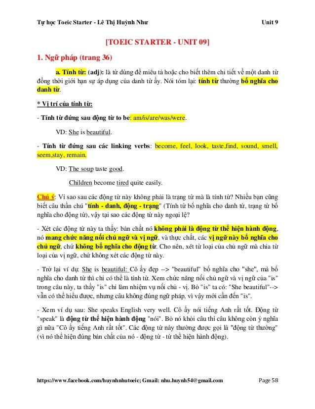 Tự học Toeic Starter - Lê Thị Huỳnh Như Unit 9 https://www.facebook.com/huynhnhutoeic; Gmail: nhu.huynh54@gmail.com Page 5...