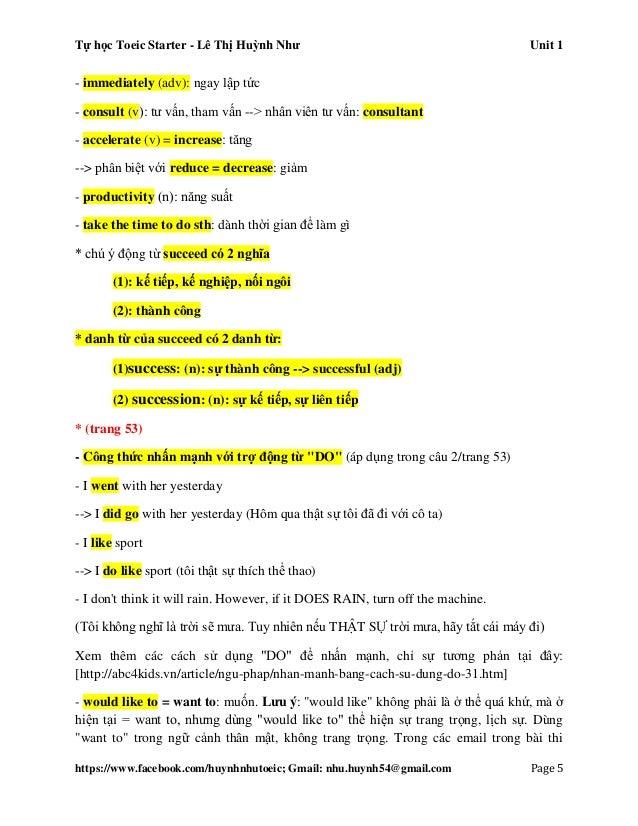 Tự học Toeic Starter - Lê Thị Huỳnh Như Unit 1 https://www.facebook.com/huynhnhutoeic; Gmail: nhu.huynh54@gmail.com Page 6...