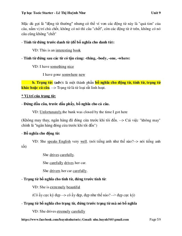 Tự học Toeic Starter - Lê Thị Huỳnh Như Unit 9 https://www.facebook.com/huynhnhutoeic; Gmail: nhu.huynh54@gmail.com Page 6...