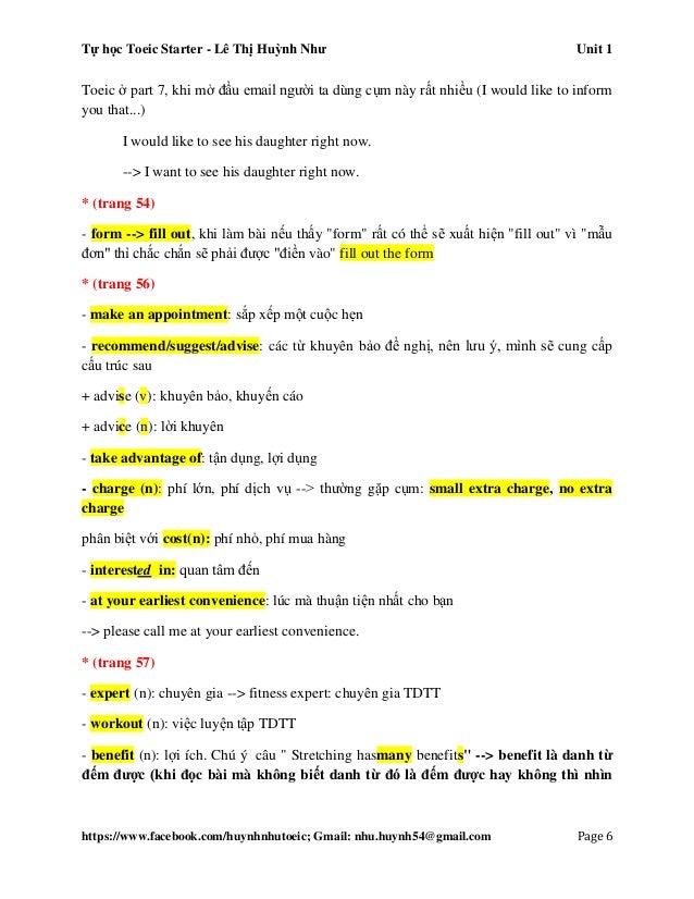 Tự học Toeic Starter - Lê Thị Huỳnh Như Unit 1 https://www.facebook.com/huynhnhutoeic; Gmail: nhu.huynh54@gmail.com Page 7...