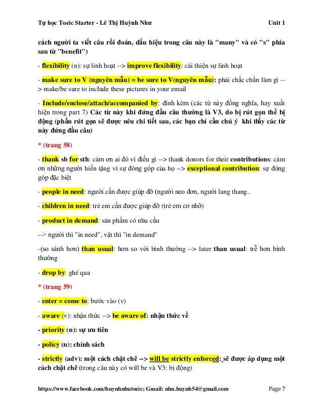 Tự học Toeic Starter - Lê Thị Huỳnh Như Unit 1 https://www.facebook.com/huynhnhutoeic; Gmail: nhu.huynh54@gmail.com Page 8...