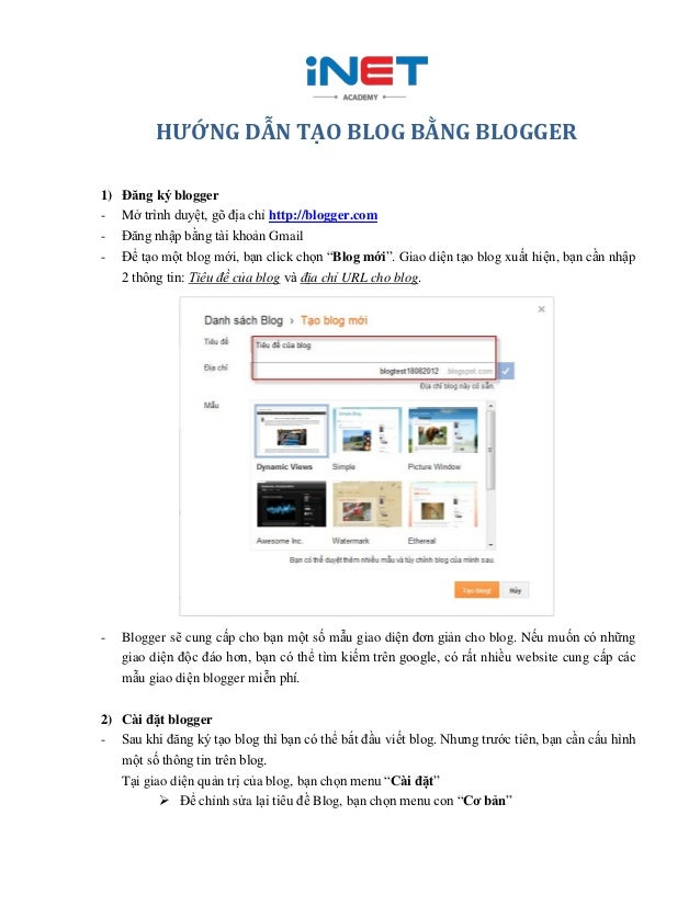 HƯỚNG DẪN TẠO BLOG BẰNG BLOGGER1)   Đăng ký blogger-    Mở trình duyệt, gõ địa chỉ http://blogger.com-    Đăng nhập bằng t...