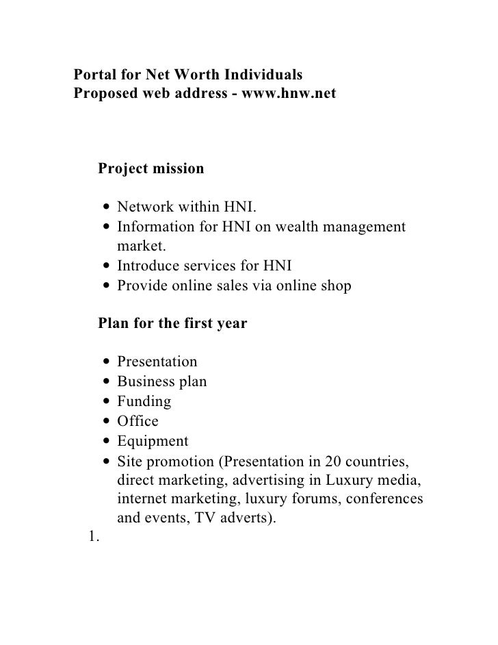 Portal for Net Worth Individuals Proposed web address - www.hnw.net       Project mission        • Network within HNI.    ...