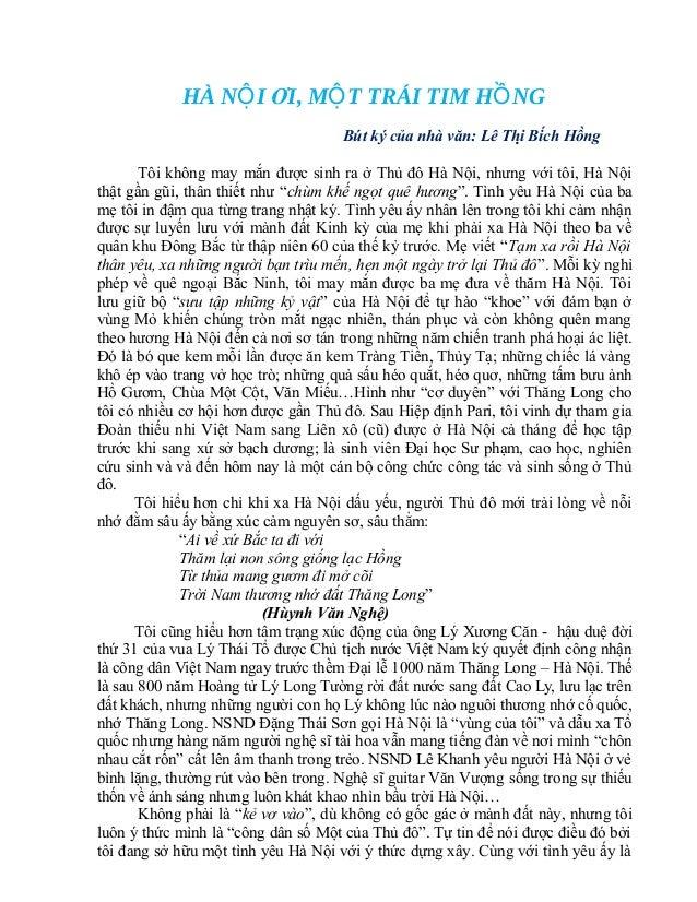 HÀ NỘ I ƠI, MỘ T TRÁI TIM HỒ NG                                     Bút ký của nhà văn: Lê Thị Bích Hồng       Tôi khôn...