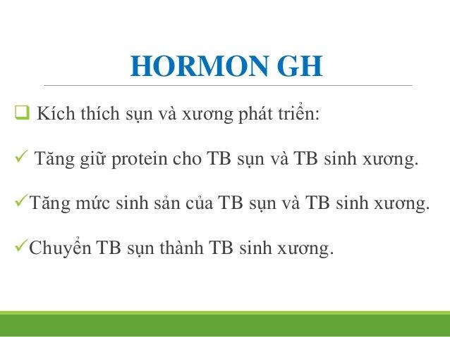 HORMON GH  Điều hòa tiết: GHRH: kích thích. GHIH: ức chế Thời kỳ cơ thể phát triển: GH tăng cao. Pr máu giảm, vận độn...
