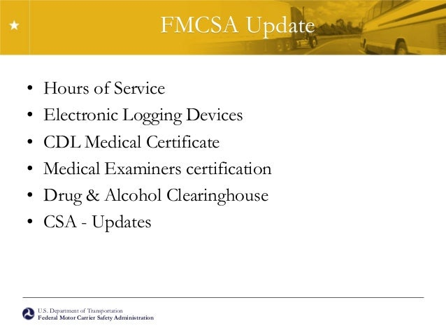 2014 fmcsa update for Federal motor carrier administration
