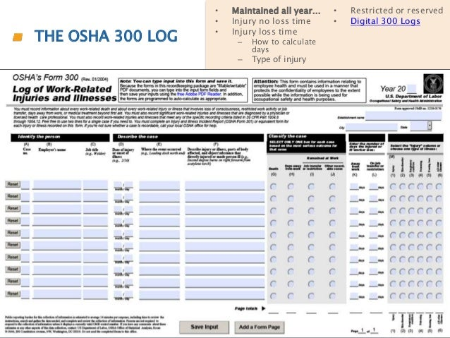 Osha Form 300 Printable For Osha Recordkeepingosha 300 Form. Osha
