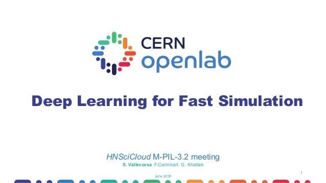 1 Deep Learning for Fast Simulation HNSciCloud M-PIL-3.2 meeting June 2018 S. Vallecorsa F.Carminati G. Khattak