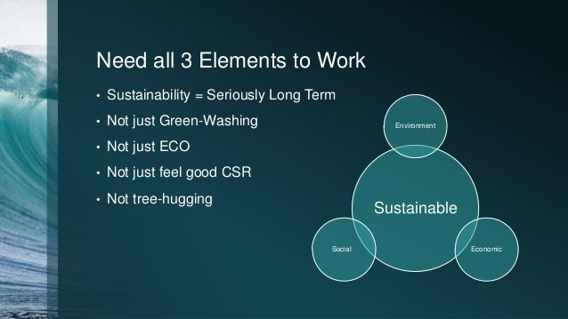 Need all 3 Elements to Work • Sustainability = Seriously Long Term • Not just Green-Washing • Not just ECO • Not just feel...