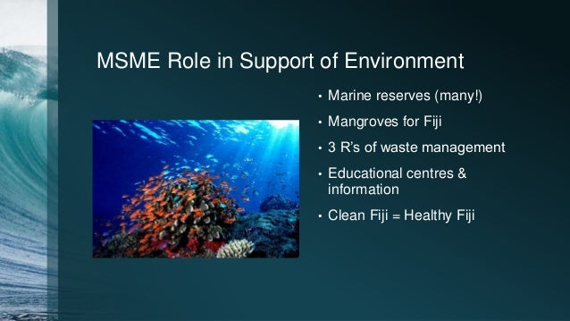 MSME Role in Support of Environment • Marine reserves (many!) • Mangroves for Fiji • 3 R's of waste management • Education...