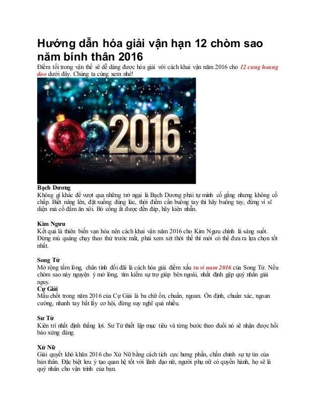 Hướng dẫn hóa giải vận hạn 12 chòm sao năm bính thân 2016 Điểm tối trong ...