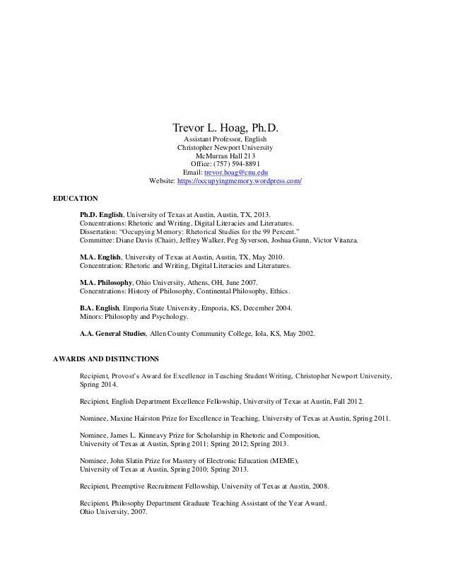 Trevor L. Hoag, Ph.D. Assistant Professor, English Christopher Newport University McMurran Hall 213 Office: (757) 594-8891...