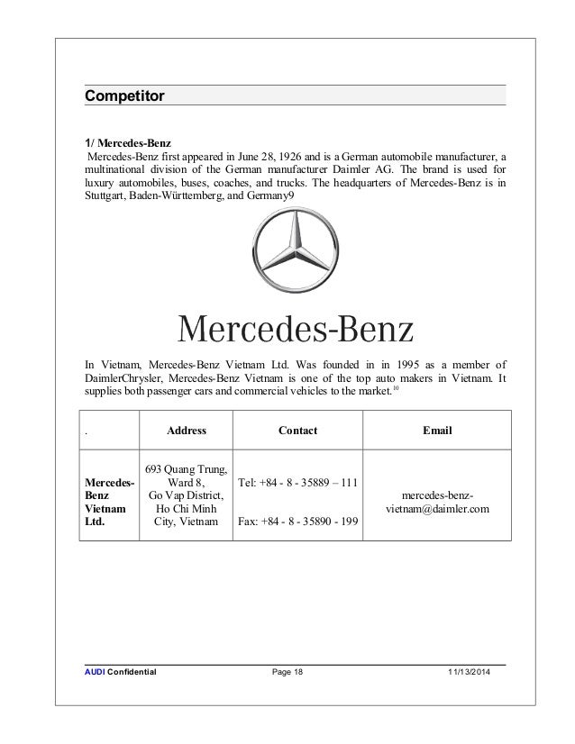 Hoanchinh strategic account business plan for Mercedes benz credit