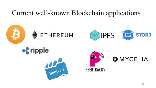 Current well-known Blockchain applications 23