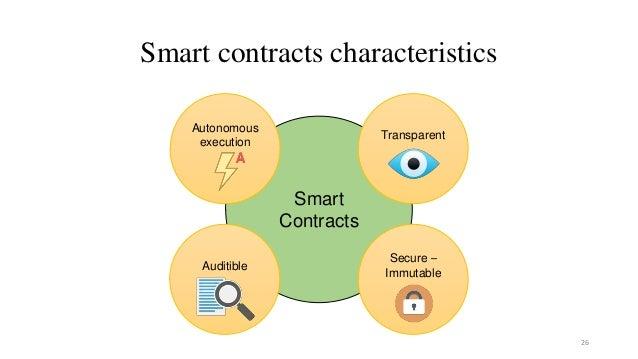 Smart contracts characteristics 26 Smart Contracts Autonomous execution Transparent Auditible Secure – Immutable