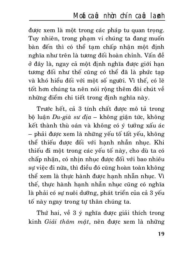 19 Moät caâu nhòn chín caâu laønh ñöôïc xem laø moät trong caùc phaùp tu quan troïng. Tuy nhieân, trong phaïm vi chuùng ta...