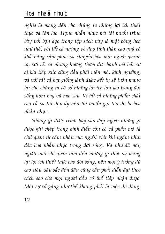 Hoa nhaãn nhuïc 12 nghóa laø mang ñeán cho chuùng ta nhöõng lôïi ích thieát thöïc vaø lôùn lao. Haïnh nhaãn nhuïc maø toâi...