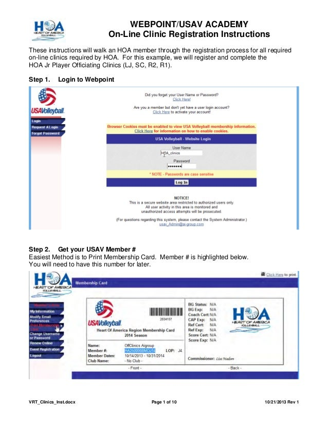 WEBPOINT/USAV ACADEMY On-Line Clinic Registration Instructions These instructions will walk an HOA member through the regi...