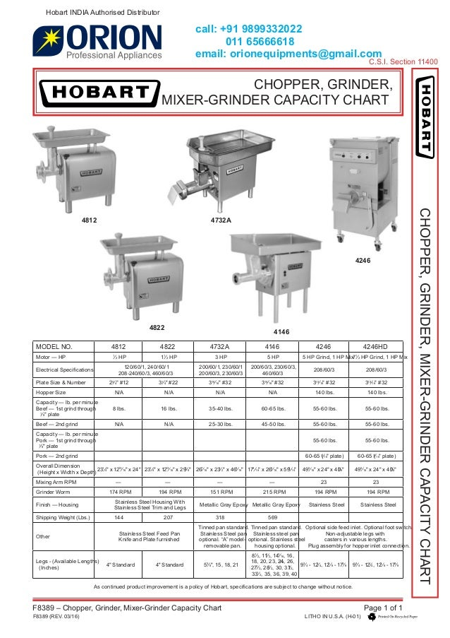 Hobart chopper grinder mixer 919899332022 capacity chart india deale
