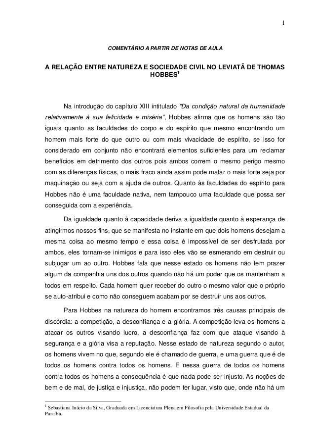 1                            COMENTÁRIO A PARTIR DE NOTAS DE AULAA RELAÇÃO ENTRE NATUREZA E SOCIEDADE CIVIL NO LEVIATÃ DE ...