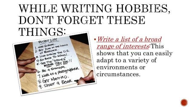 Hobbies tutorial