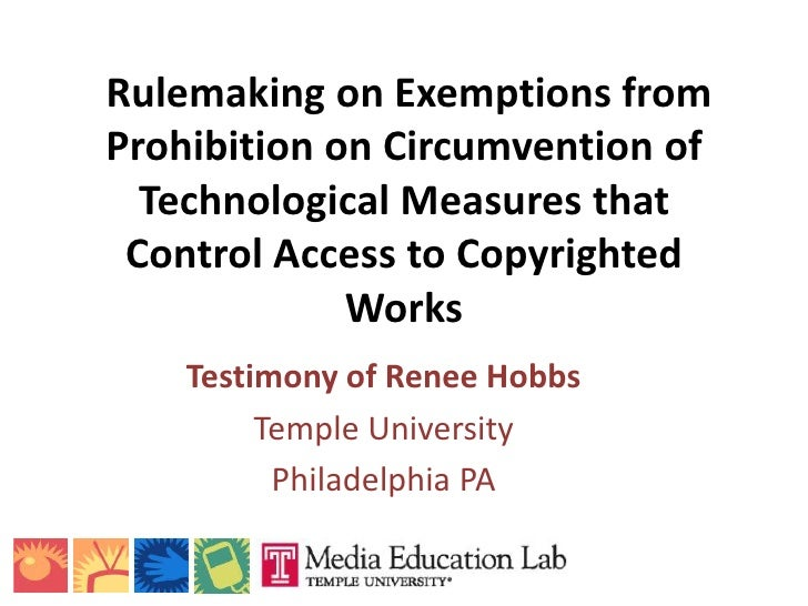 Rulemaking on Exemptions from Prohibition on Circumvention of   Technological Measures that  Control Access to Copyrighted...
