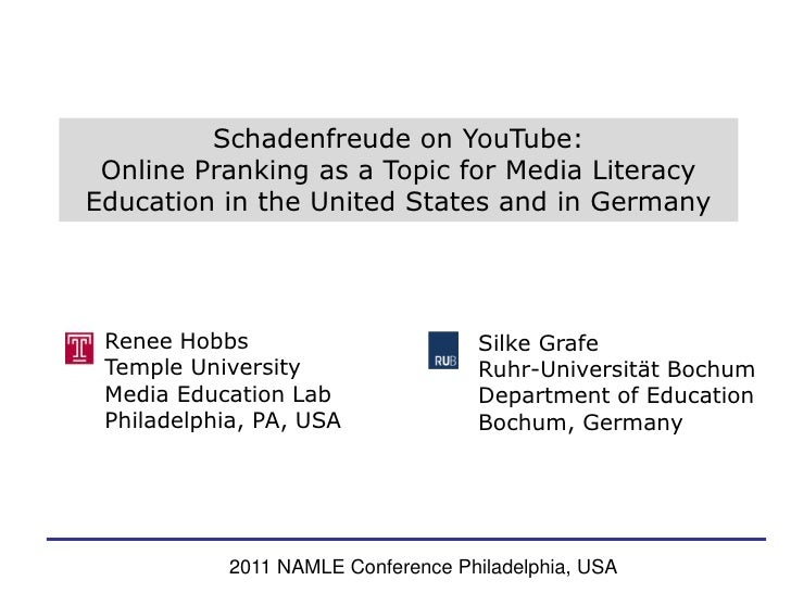 Schadenfreude on YouTube: <br />Online Pranking as a Topic for Media Literacy Education in the United States and in German...