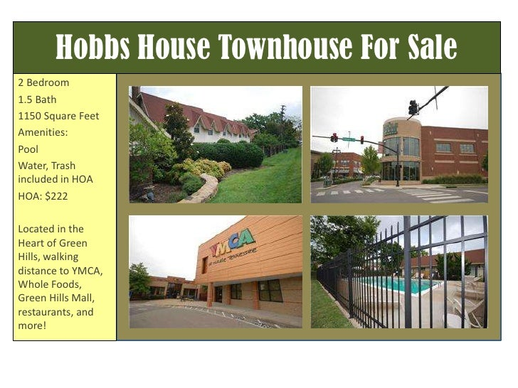 Hobbs House Townhouse For Sale<br />2 Bedroom<br />1.5 Bath<br />1150 Square Feet<br />Amenities:<br />Pool<br />Water, Tr...