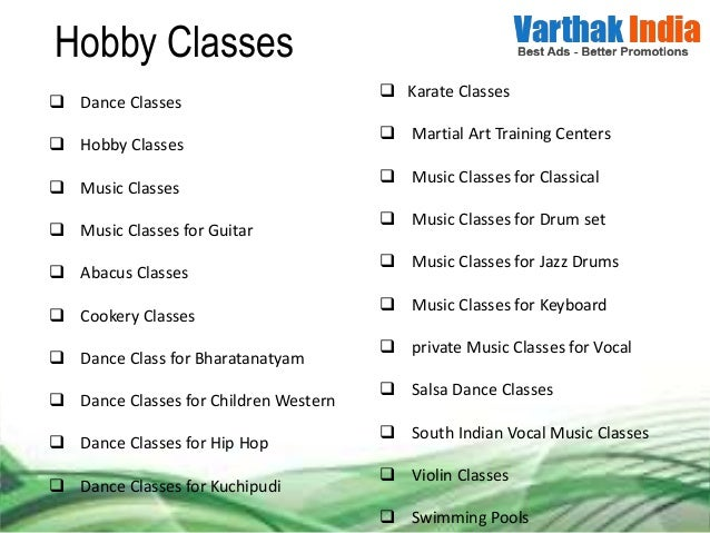 Hobby classes private music classes for vocal, south ...