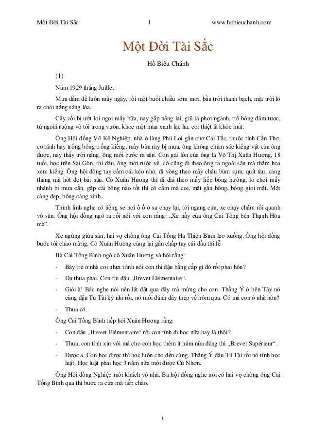 t Ð i Tài S c 1 www.hobieuchanh.com 1 t Ð i Tài S c Bi u Chánh (1) m 1929 tháng Juillet. a d m d luôn m y ngày, r i m t bu...