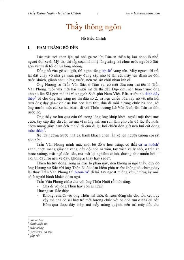 Wasserzeichen Text Th y Thông Ngôn - H Bi u Chánh 1 www.hobieuchanh.com Th y thông ngôn Bi u Chánh I. HAM TR NG B ÈN Lúc m...