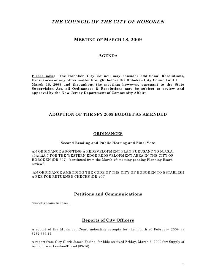 THE COUNCIL OF THE CITY OF HOBOKEN                             MEETING OF MARCH 18, 2009                                  ...