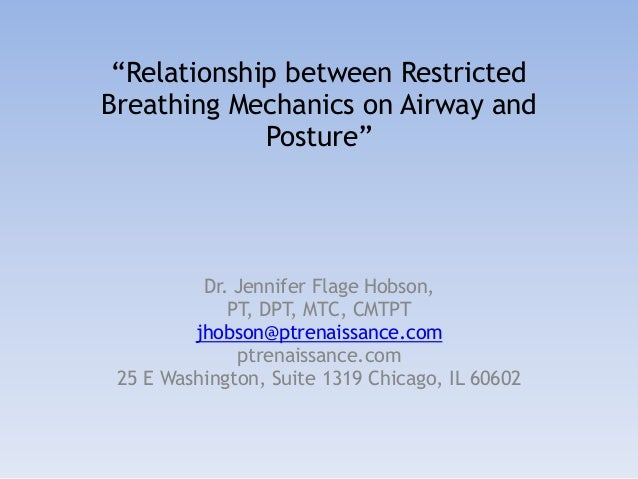 """Relationship between Restricted Breathing Mechanics on Airway and Posture"" Dr. Jennifer Flage Hobson, PT, DPT, MTC, CMTPT..."