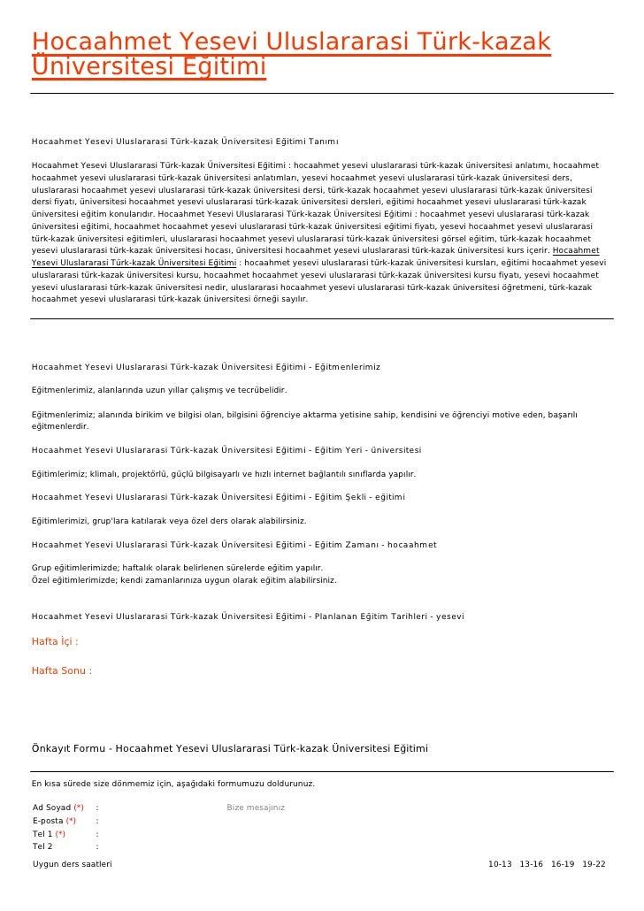 Hocaahmet Yesevi Uluslararasi Türk-kazakÜniversitesi EğitimiHocaahmet Yesevi Uluslararasi Türk-kazak Üniversitesi Eğitimi ...
