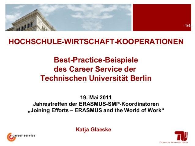 1/44  HOCHSCHULE-WIRTSCHAFT-KOOPERATIONEN Best-Practice-Beispiele des Career Service der Technischen Universität Berlin 19...