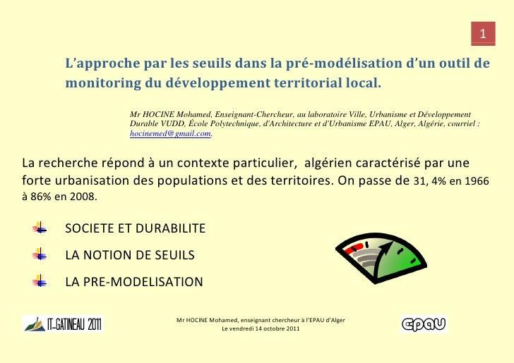 1        L'approche par les seuils dans la pré-modélisation d'un outil de        monitoring du développement territorial l...
