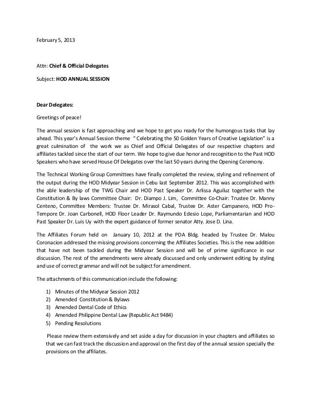 Hod Cover Letter To Delegates For Annual Session
