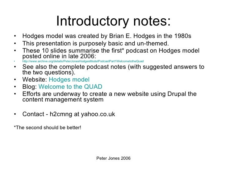 Introductory notes: <ul><li>Hodges model was created by Brian E. Hodges in the 1980s </li></ul><ul><li>This presentation i...