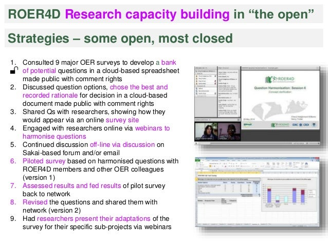 """ROER4D Research capacity building in """"the open""""  Strategies – some open, most closed  1. Consulted 9 major OER surveys to ..."""